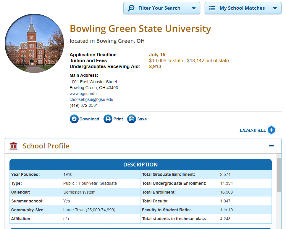Bowling Green State University BGSU College Finder