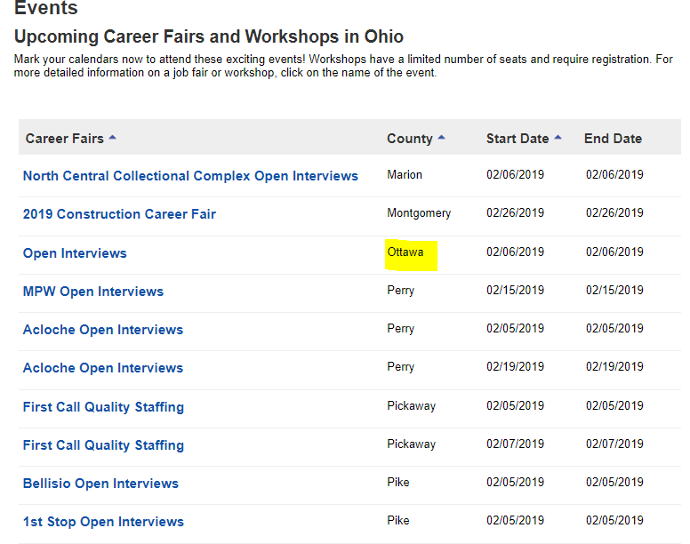 OhioMeansJobs OMJ Upcoming Events Workshops